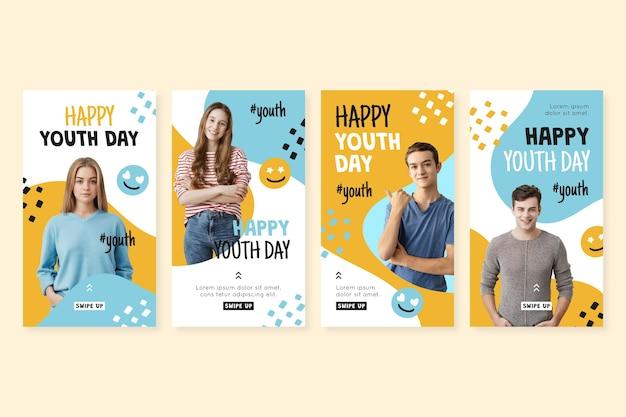 Colección de historias del día internacional de la juventud dibujadas a mano con foto