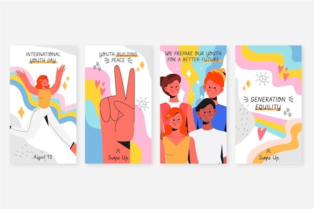 Colección de historias del día internacional de la juventud dibujadas a mano