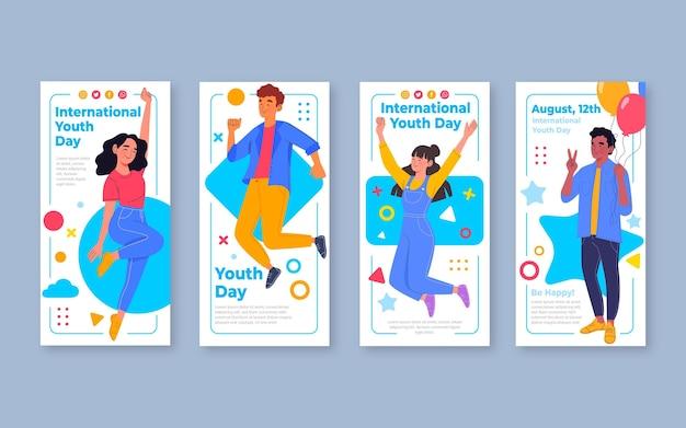 Colección de historias del día internacional de la juventud en diseño plano