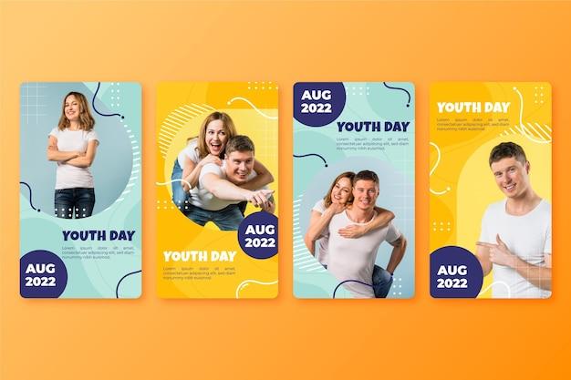 Colección de historias del día internacional de la juventud con foto.