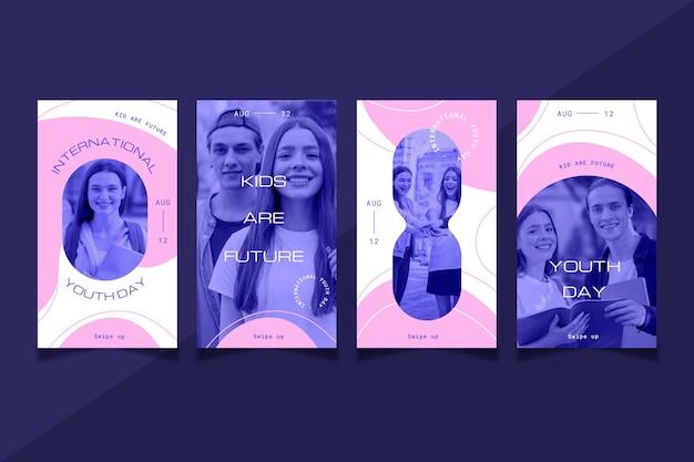 Colección de historias del día internacional de la juventud con foto