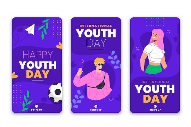 Colección de historias del día internacional de la juventud