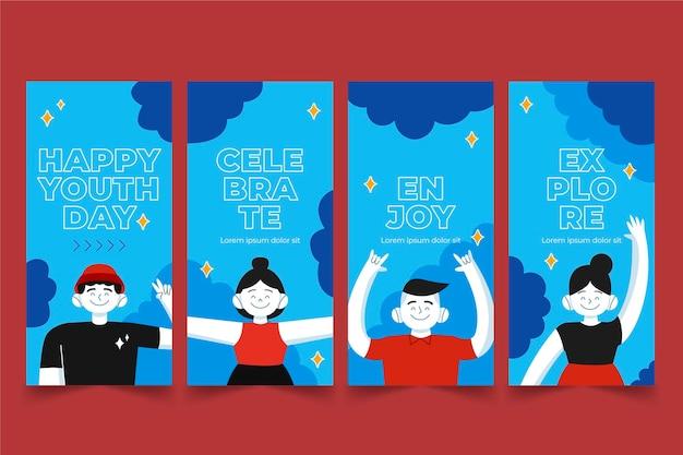 Colección de historias de dibujos animados del día internacional de la juventud
