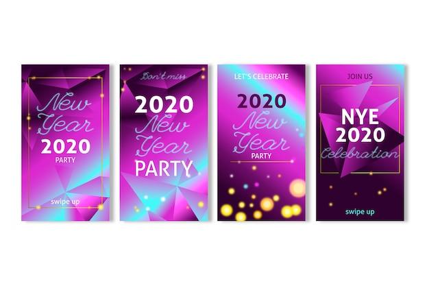 Colección de historias de fiesta de año nuevo de instagram