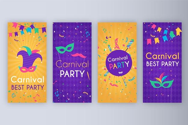 Colección de historias de fiesta de carnaval
