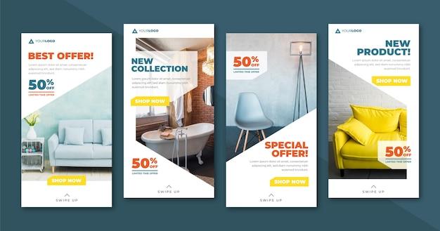 Colección de historias de ig de venta de muebles con imagen
