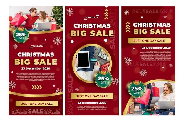 Colección de historias de instagram de anuncios de ventas navideñas