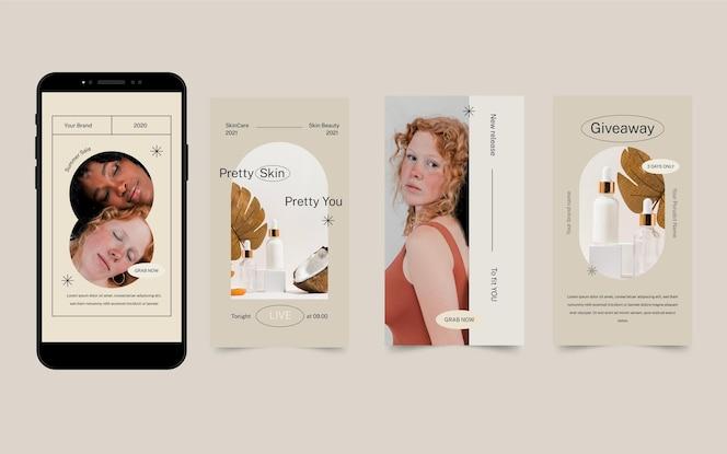 Colección de historias de instagram de belleza de diseño plano