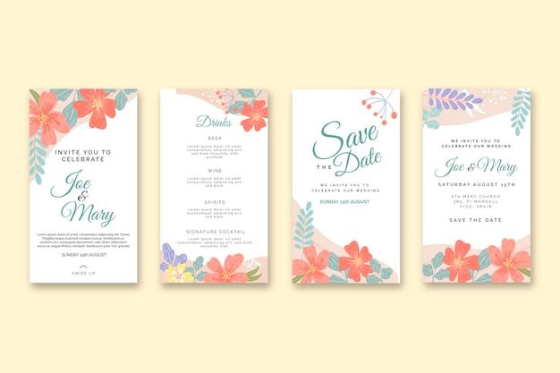 Colección de historias de instagram de bodas florales