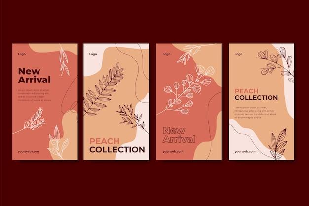 Colección de historias de instagram boho dibujadas a mano de grabado
