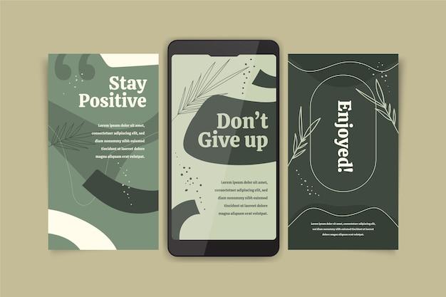 Colección de historias de instagram de citas inspiradoras dibujadas a mano
