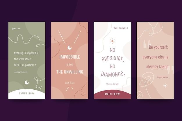 Colección de historias de instagram de citas inspiradoras planas orgánicas