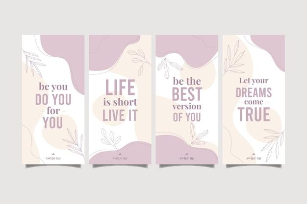 Colección de historias de instagram de citas inspiradoras planas