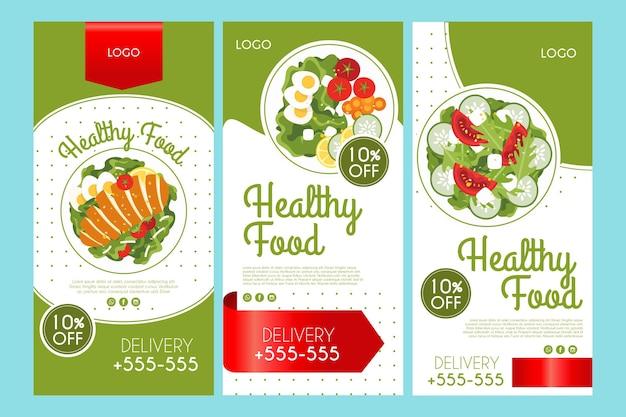 Colección de historias de instagram para comida saludable