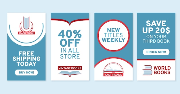 Colección de historias de instagram de compras planas