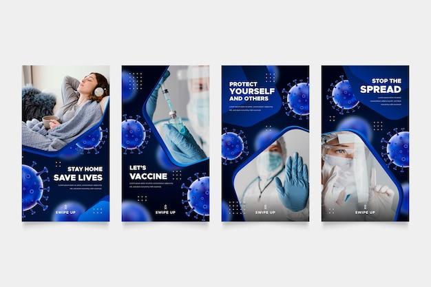 Colección de historias de instagram de coronavirus degradado