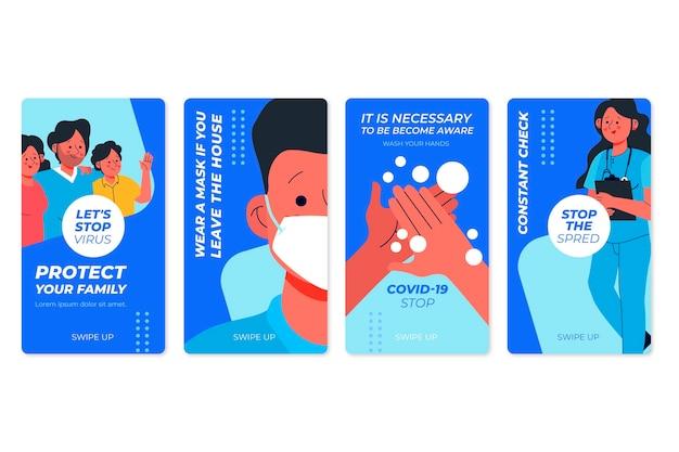 Colección de historias de instagram de coronavirus plano orgánico