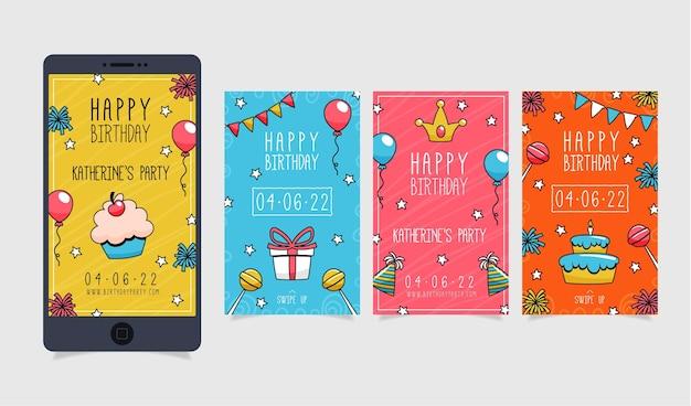 Colección de historias de instagram de cumpleaños dibujadas a mano