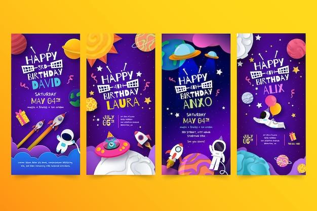 Colección de historias de instagram de cumpleaños para niños.