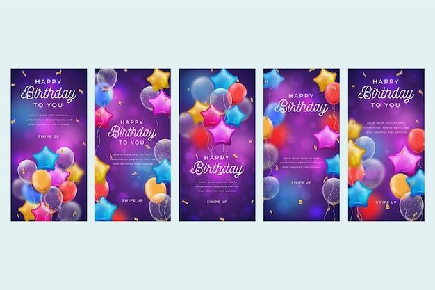 Colección de historias de instagram de cumpleaños