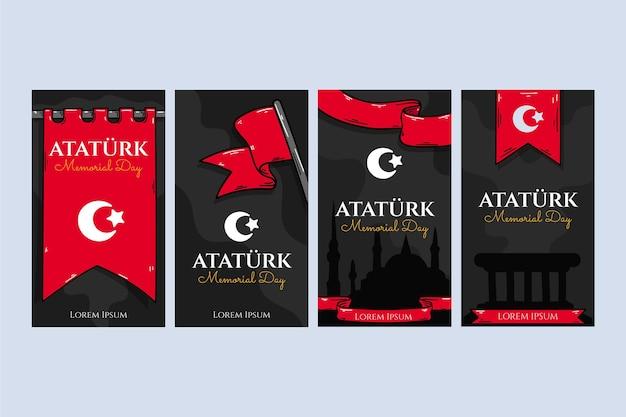 Colección de historias de instagram del día conmemorativo de ataturk dibujadas a mano