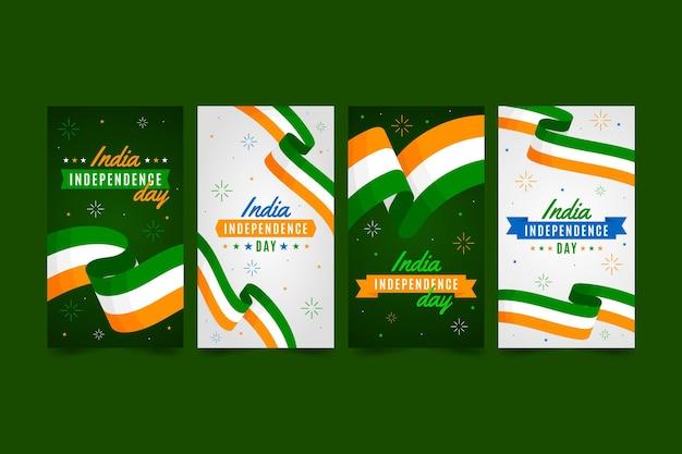 Colección de historias de instagram del día de la independencia de india plana