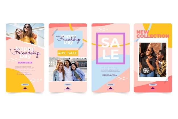 Colección de historias de instagram del día internacional de la amistad plana