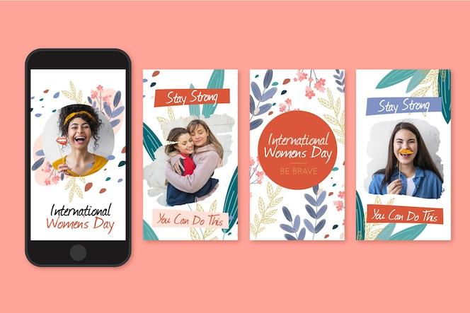 Colección de historias de instagram del día internacional de la mujer dibujadas a mano