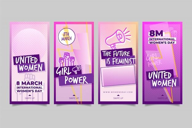 Colección de historias de instagram del día internacional de la mujer