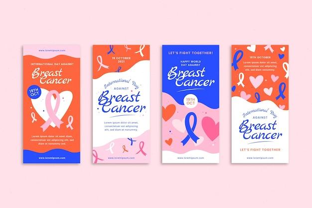 Colección de historias de instagram del día internacional plano dibujado a mano contra el cáncer de mama