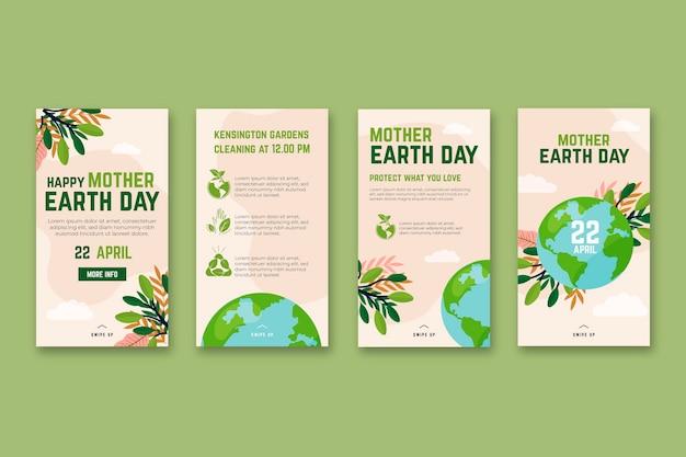 Colección de historias de instagram del día de la madre tierra