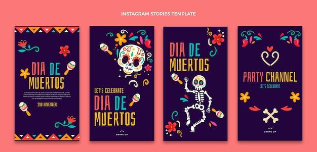 Colección de historias de instagram de dia de muertos dibujadas a mano