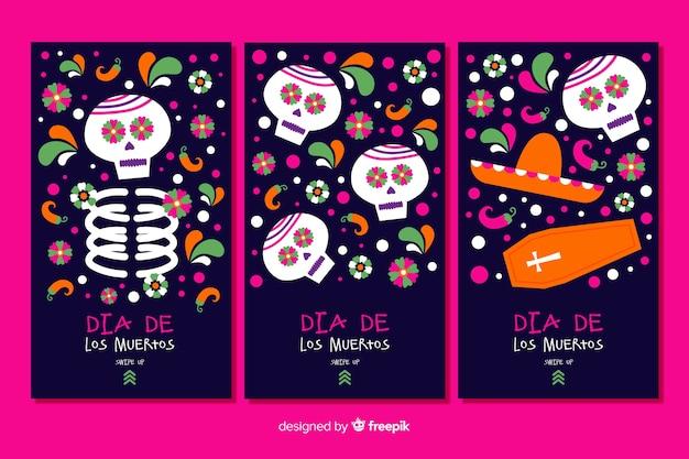 Colección de historias de instagram día de muertos