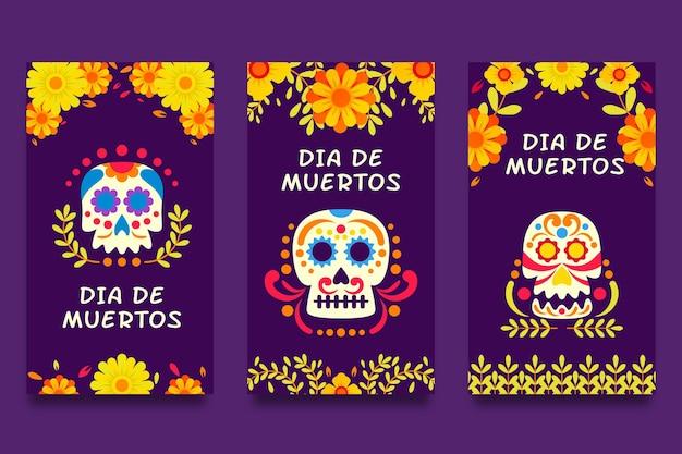 Colección de historias de instagram de dia de muertos