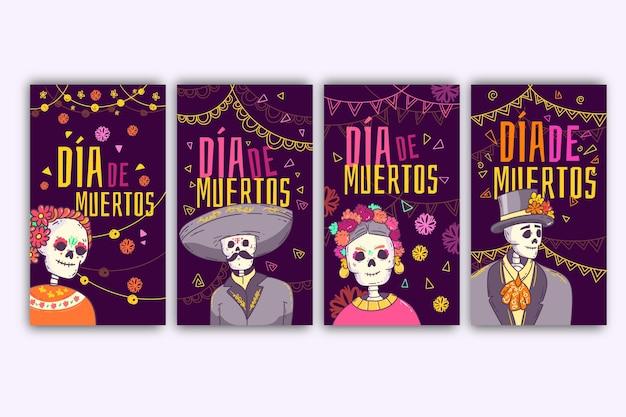 Colección de historias de instagram del día de muertos