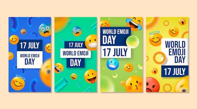 Colección de historias de instagram del día mundial del emoji en 3d realista