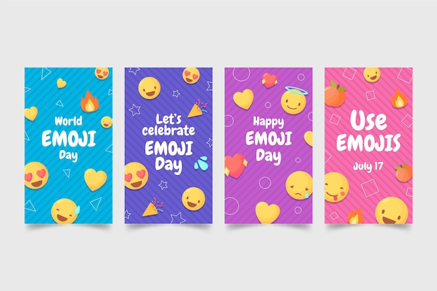 Colección de historias de instagram del día mundial del emoji plano