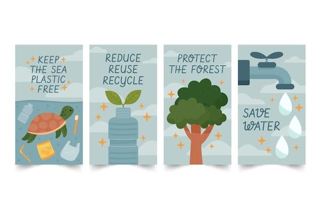 Colección de historias de instagram del día mundial del medio ambiente dibujadas a mano