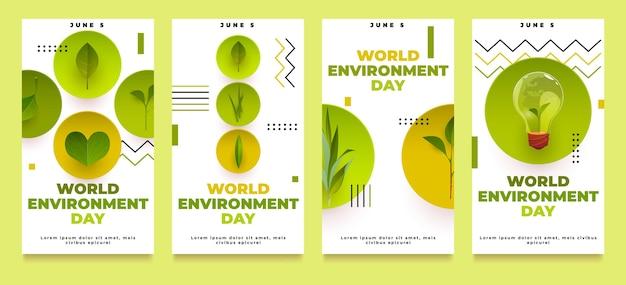 Colección de historias de instagram del día mundial del medio ambiente de dibujos animados