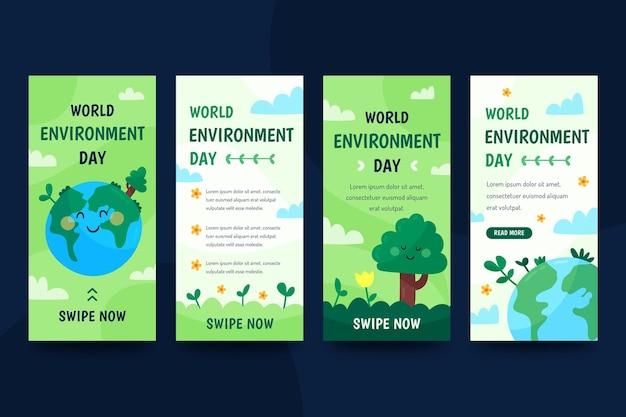 Colección de historias de instagram del día mundial del medio ambiente plano