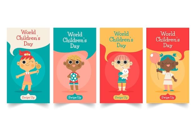 Colección de historias de instagram del día mundial de los niños dibujados a mano