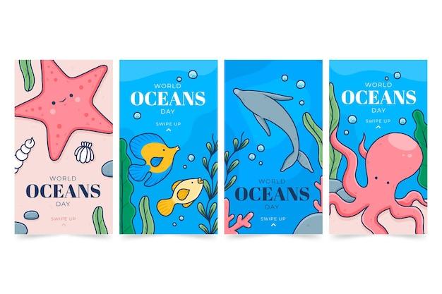 Colección de historias de instagram del día mundial de los océanos dibujadas a mano