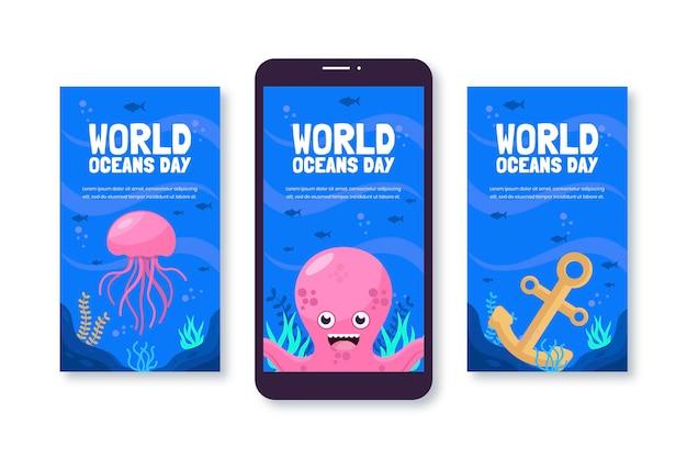 Colección de historias de instagram del día mundial de los océanos