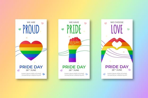 Colección de historias de instagram del día del orgullo degradado