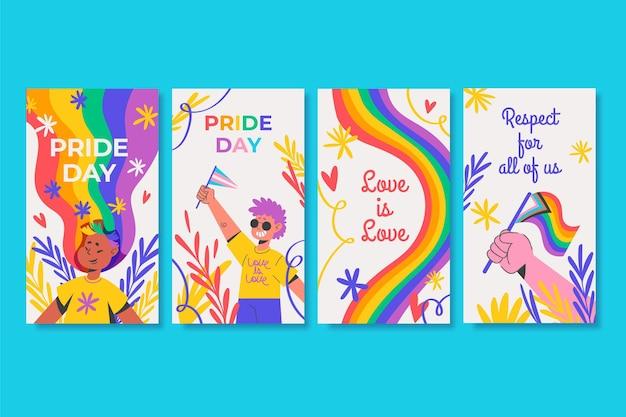 Colección de historias de instagram del día del orgullo dibujadas a mano