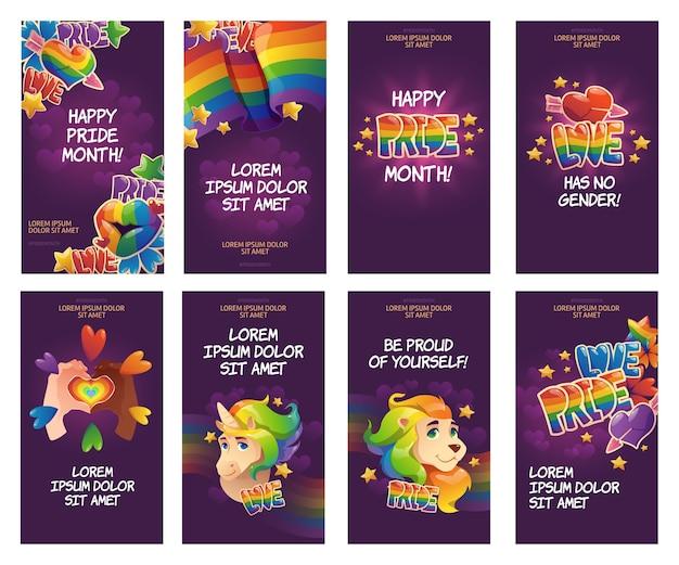 Colección de historias de instagram del día del orgullo de dibujos animados