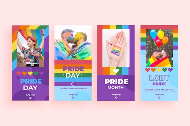 Colección de historias de instagram del día del orgullo plano