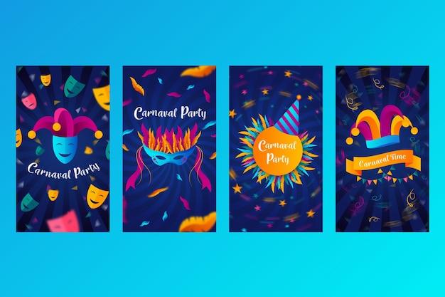 Colección de historias de instagram con diseño de fiesta de carnaval