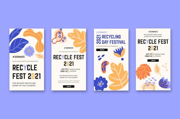 Colección de historias de instagram para el festival del día del reciclaje