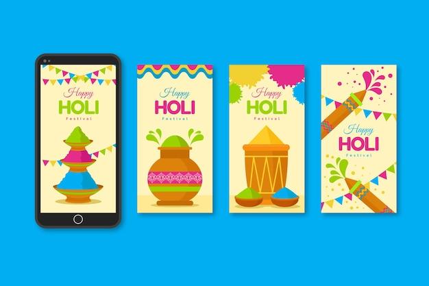 Colección de historias de instagram para el festival holi